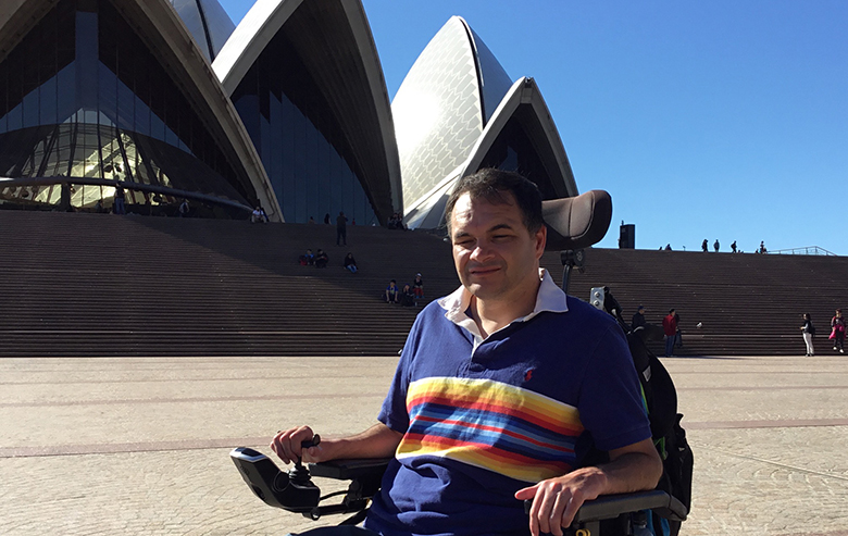 Jason posing in front of the Sydney Opera House