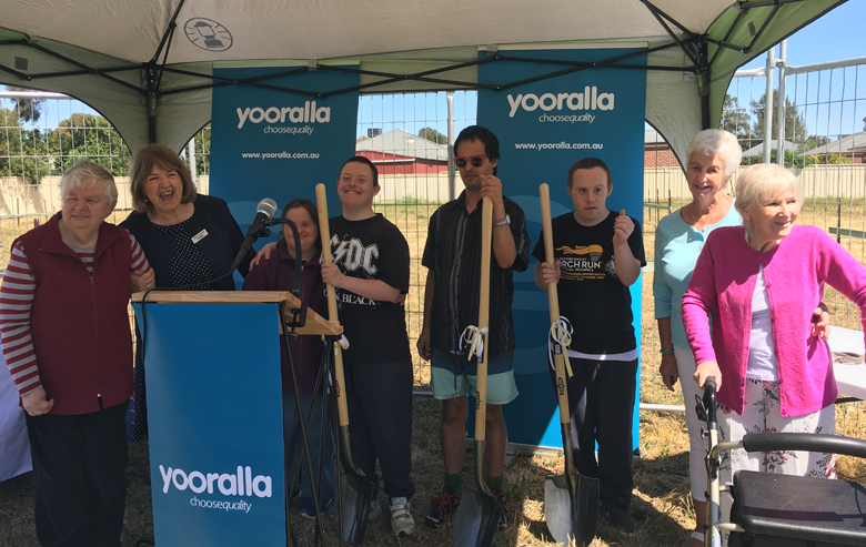 From left to right: Jeanette Roscoe (resident), Cr Barbara Alexander AO (Benalla Councillor and Yooralla board member), Fiona Haine (resident), Steven Lyons (resident), Martin Howell (resident), Joel Lotherington (resident), Gwen Turner (board member of the former Central Access Limited) Heather Ash (resident).