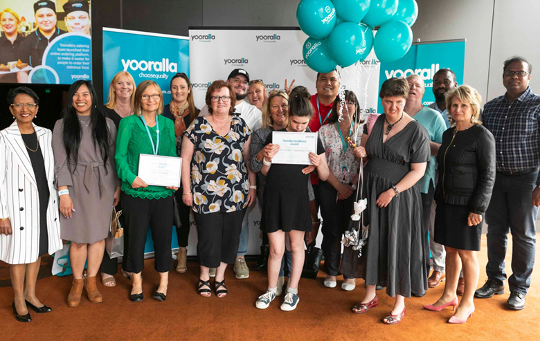 A collection of award winners of Yooralla's 2018 Excellence Awards